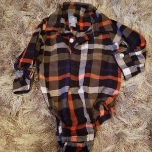 Baby Gap plaid button up long sleeve one piece